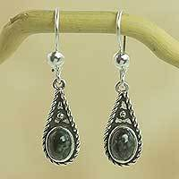 Dark green jade dangle earrings, Santa Catalina