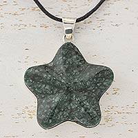 Dark green jade pendant necklace, 'Wishing Star' - Fair Trade Jewelry Artisan Crafted Dark Jade Necklace