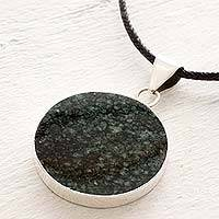 Reversible jade pendant necklace, 'Maya Moon' - Black and Green Jade Reversible Pendant Necklace