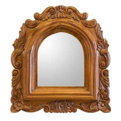 Guatemalan Colonial Style Carved Wood Wall Mirror
