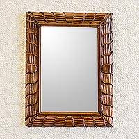 Mirror, 'Rolling Waves' - Artisan Crafted Sustainable Wood Wall Mirror from Guatemala