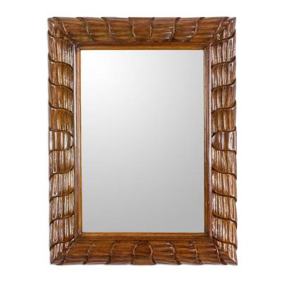 Artisan Crafted Sustainable Wood Wall Mirror from Guatemala