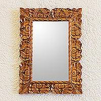 Mirror, 'Naturally Baroque' - Guatemalan Hand Carved Conacaste Wood Wall Mirror