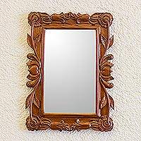 Mirror, 'Fairytale' - Guatemalan Hand Carved Flower and Heart Wood Wall Mirror