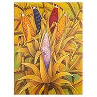 'Colors of Corn' - Signed Guatemalan Painting of Corn in a Field