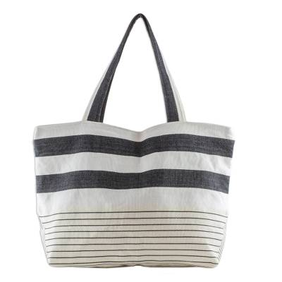 Hand Woven Black White and Beige Cotton Tote Handbag