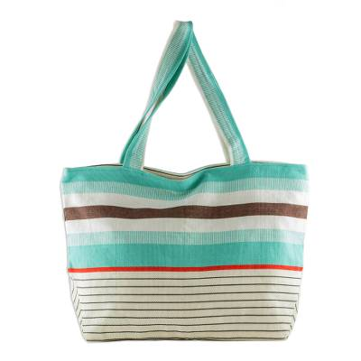 Guatemala Handwoven Turquoise and White Cotton Tote Handbag