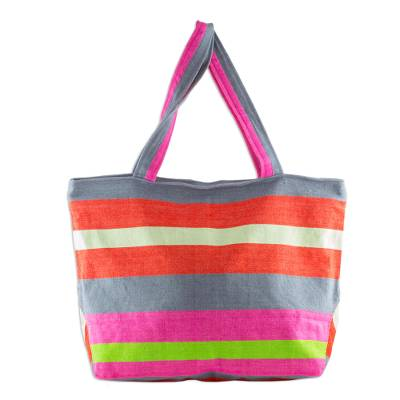 Artisan Woven Bright Cotton Tote Bag in Tropical Colors