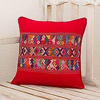 Cotton cushion cover, 'Red Quiche Birds' - Maya Backstrap Loom Bird Theme Red Cotton Cushion Cover