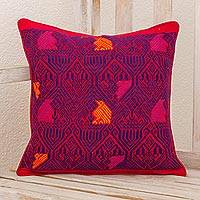 Cotton cushion cover, 'Birds in Color' - Handwoven Maya Backstrap Loom Red and Purple Cushion Cover