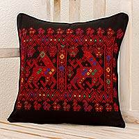Cotton cushion cover, 'Red Maya Deer' - Red Deer Theme Maya Backstrap Black Cotton Cushion Cover