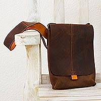 Leather iPad shoulder bag, 'Cyber Traveler' - Brown and Orange Leather iPad Shoulder Bag 2 Compartments