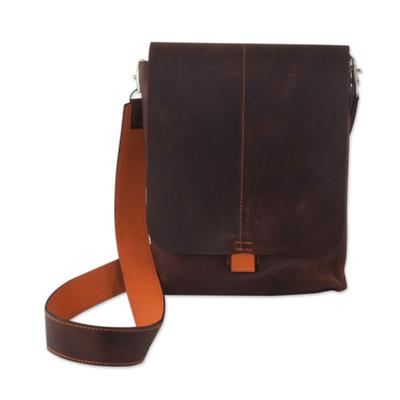 Leather iPad shoulder bag, 'Cyber Traveler' - Brown and Orange Leather iPad Shoulder Bag 2 Compartments