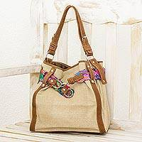 Leather accent cotton hobo bag, 'Green San Pedro' - Cotton Shoulder Bag with Multicolor Belt and Leather Accents