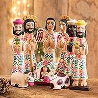 Wood nativity scene, 'Holy Gifts' (set of 10) - 10-piece Nativity Scene Hand-carved Wood from Guatemala