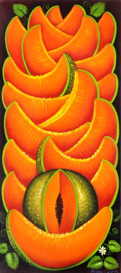 'Melon' - Signed Realist Painting of Melon Fruits from Guatemala