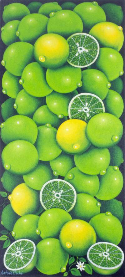 'Lime' - Painting of Multiple Green Limes Signed Realism Art