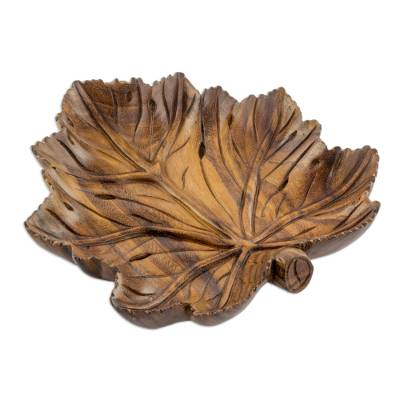 Artisan Crafted Carved Wood Leaf Theme Centerpiece