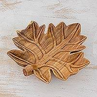 Wood centerpiece, 'Maple Leaf' - Leaf Theme Carved Wood Artisan Crafted Centerpiece