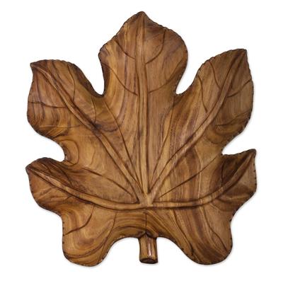 Guatemalan Hand Carved Leaf Shape Raintree Wood Centerpiece