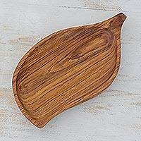Wood centerpiece, 'Lily Leaf' - Sleek Leaf Shaped Wood Centerpiece Hand Carved in Guatemala