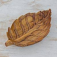 Wood centerpiece, 'Rose Leaf' - Guatemala Handcrafted Natural Wood Leaf Theme Centerpiece