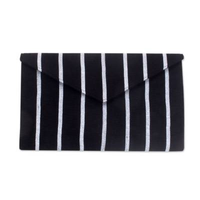 Black and White Clutch Bag in Hand Woven Cotton