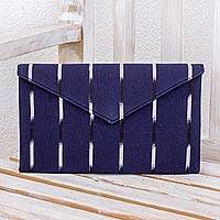 Cotton clutch bag, 'Indigo Parallels' - Hand Woven Cotton Indigo Blue Clutch Bag Fully Lined
