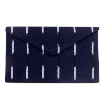 Hand Woven Cotton Indigo Blue Clutch Bag Fully Lined