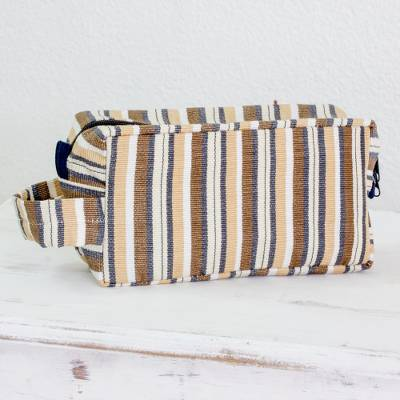 Men's cotton toiletries bag, 'Brown Expedition' - Brown Stripped Toiletry Bag for Men in Hand-woven Cotton