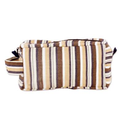 Brown Stripped Toiletry Bag for Men in Hand-woven Cotton