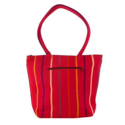 Fuchsia Tote Shoulder Bag in Hand Woven Cotton