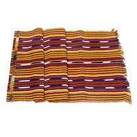 Cotton table runner, 'Gold Path to Chichicastenango' - Yellow Red Hand Woven Cotton Table Runner