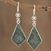 Jade dangle earrings, 'Jungle Pyramids' - Jade Earrings with Sterling Silver Settings from Guatemala