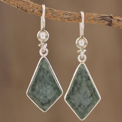Jade dangle earrings, Jungle Pyramids