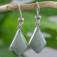 Light green jade dangle earrings, 'Jungle Pyramids' - Very Light Green Jade in Sterling Silver Geometric Earrings