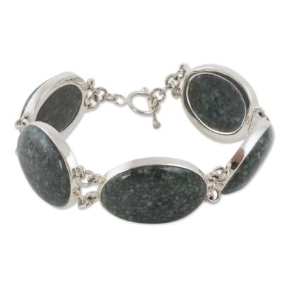 Sterling Silver Link Bracelet with Dark Green Jade