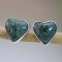 Jade heart button earrings, 'Love Sacred' - Jade Heart Earrings Artisan Crafted Jewelry
