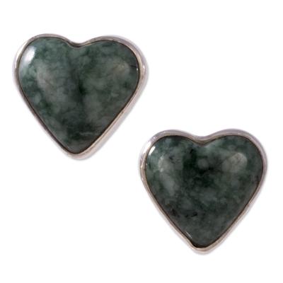 Jade Heart Earrings Artisan Crafted Jewelry