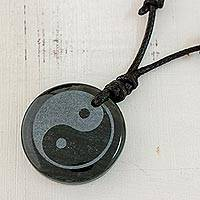 Jade cross necklace, 'Yin Yang' - Jade Yin Yang on Black Cotton Necklace Crafted by Hand