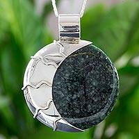 Jade pendant necklace, 'Green Place of the Moon'