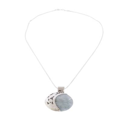 Reversible Silver Pendant Necklace with 2 Shades Green Jade