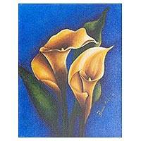 'Calla Lilies on Blue' - Original Signed Flower Painting from El Salvador