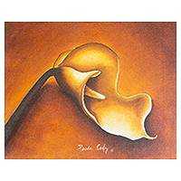 'Calla Lily on Orange' - El Salvador Original Fine Art Flower Painting