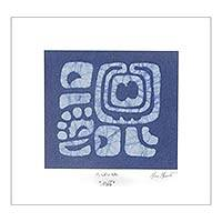 Cotton batik wall art, 'Indigo A-ja-wa' - Lord Creator Maya Glyph Batik on Indigo Cotton Wall Panel