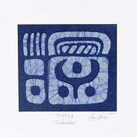 Cotton batik wall art, 'Indigo Ti-ka-la' - Ancient Maya Glyph Batik on Indigo Cotton Wall Panel