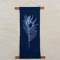 Cotton shibori wall hanging, 'Murex Shell' - Shibori Shell on Indigo Blue Cotton Wall Hanging with Rods