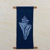 Cotton shibori wall hanging, 'Japanese Wonder Shell' - Shibori Shell on Indigo Blue Cotton Wall Hanging with Rods