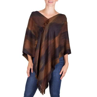 Brown Hand Loomed Rayon Chenille Poncho with Fringe