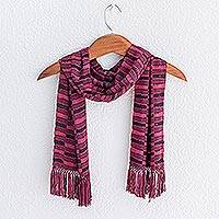 Bamboo fiber scarf, 'Magenta Nights' - Backstrap Bamboo Fiber Handmade Scarf in Magenta and Black
